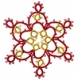 Tatted Christmas Star in red and gold OSW008