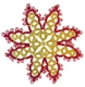 Tatted Christmas Star in red and gold OSW013