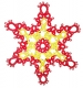 Tatted Christmas Star in red and gold OSW021