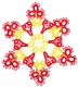 Tatted Christmas Star in red and gold OSW026